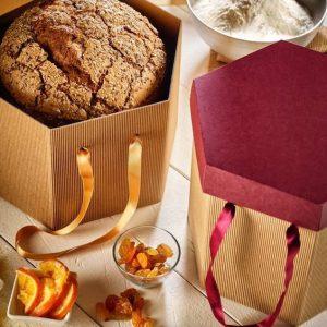 scatola per panettone con coperchio e maniglie in raso