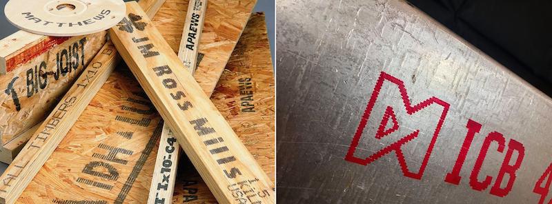 marcatura industriale su legno e metallo