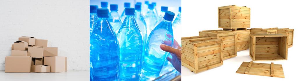 Imballaggi in catone plastica e legno