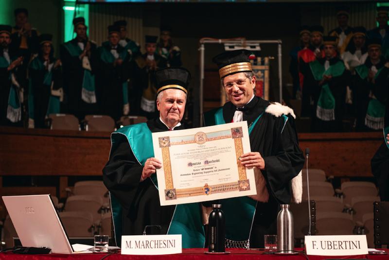 Maurizio Marchesini insieme al Rettore Francesco Ubertini