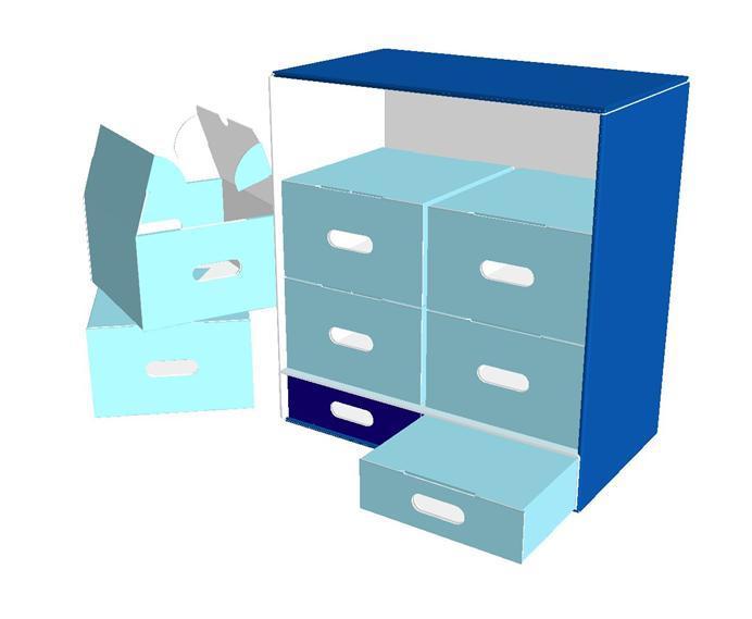 Smart packaging con interno a cassettiera